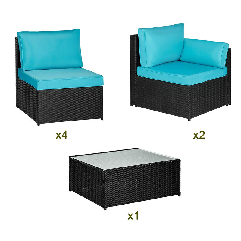 7 Pcs Outdoor Sectional Rattan Furniture Set, Patio Conversation Sets Wicker Sofa Set with Blue Cushion