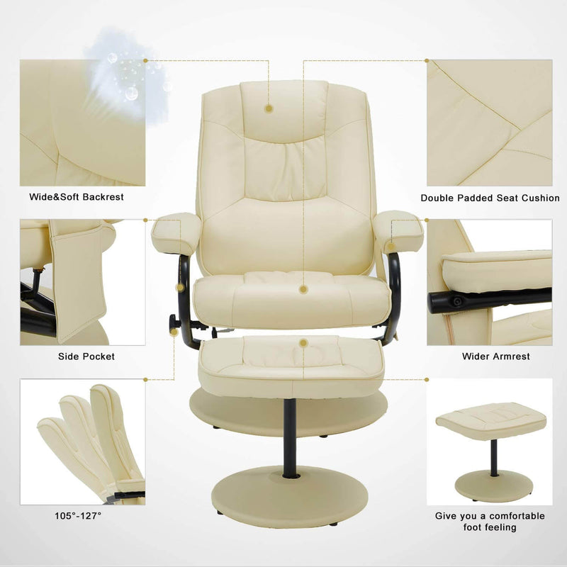 Recliner Chair and Ottoman, 360 Degrees Swivel Ergonomic Faux Leather Lounge Recliner with Footrest, Vibration Massage Lounge Chair with Side Pocket, Cream White