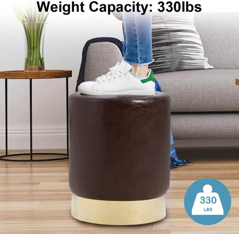 Round PU Leather Ottoman Foot Stool Footrest, Soft Compact Padded Stool, Living Room Bedroom Decorative Furniture, Brown