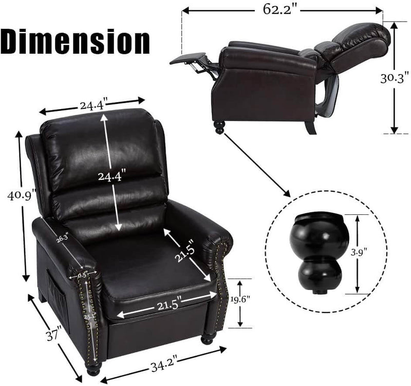 Massage Recliner Chair, Arm Chair Push Back Recliner with Rivet Decoration, PU Leather Power Recliner Chair with 6 Point Massage and Heat (Brown)