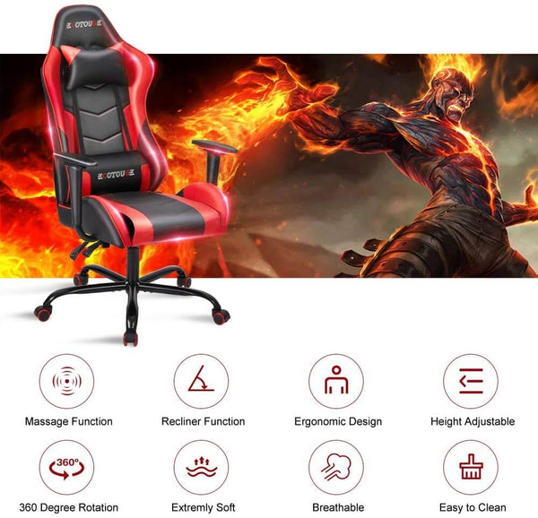 Gaming Chair Massage Ergonomic Office Chair High Back Computer Chair Racing PU Leather Recliner with Headrest & Lumbar Pillow, Black & Red