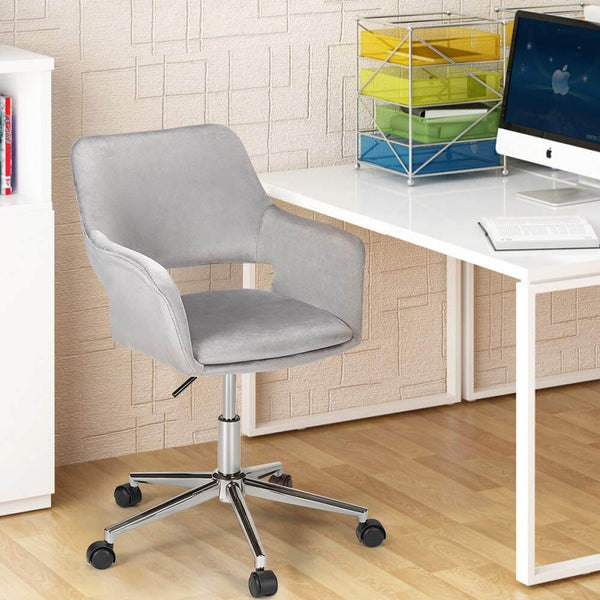 Homhum Desk Chair, Plush Velvet Office Chair for Home or Office, Modern, Comfortble, Nice Task Chair for Computer Desk (Polish Steel-Gray)
