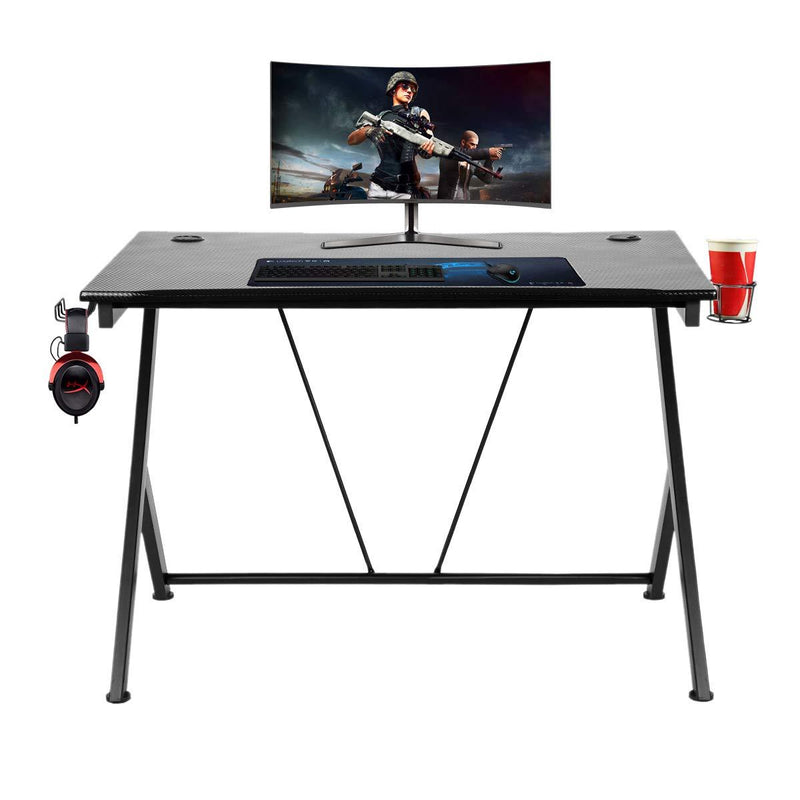 Gaming Desk Home Office with Cup Holder and Headphone Hook Black 43.3 inches