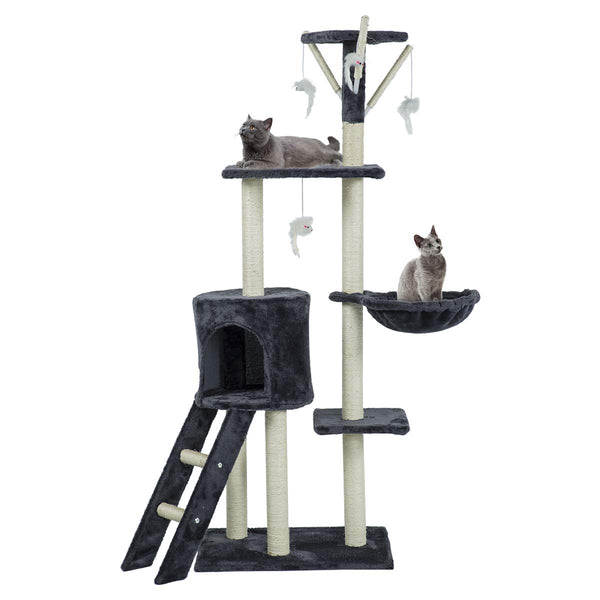 56 inches Multi-Level Cat Tree Condo Deluxe Cat Tower Kitten Play House (Free Gifts)