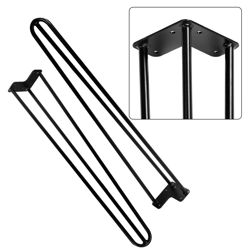 "28"" Black Hairpin Legs, 1/2"" Diameter, Set for 4 Heavy Duty 3 Rods Table Legs"
