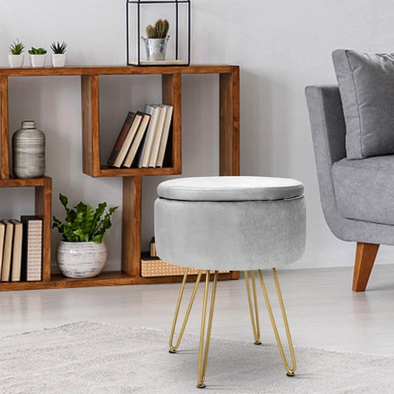 Velvet Footrest Storage Ottoman Round Modern Upholstered Vanity Footstool Side Table Seat Dressing Chair with Golden Metal Leg, Gray