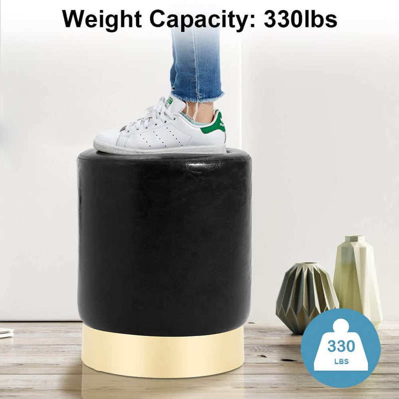Round PU Leather Ottoman Foot Stool Footrest, Soft Compact Padded Stool Living Room Bedroom Decorative Furniture, Black