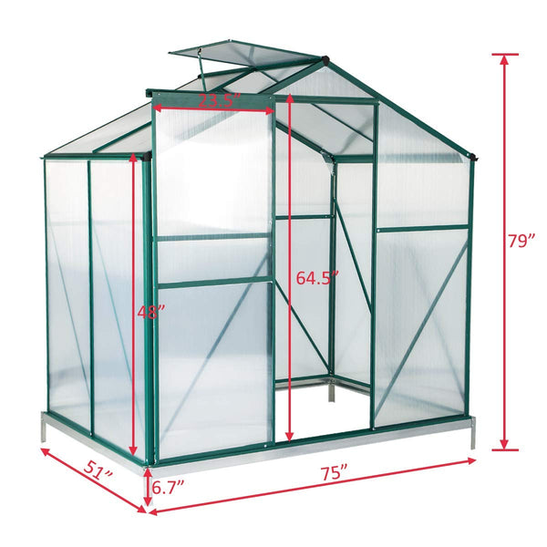 Walk-in Greenhouse 4'(L) x 6'(W) x 6.6'(H), UV Protection Aluminum Greenhouse, Plant Hot House with Adjustable Roof Vent & Rain Gutters