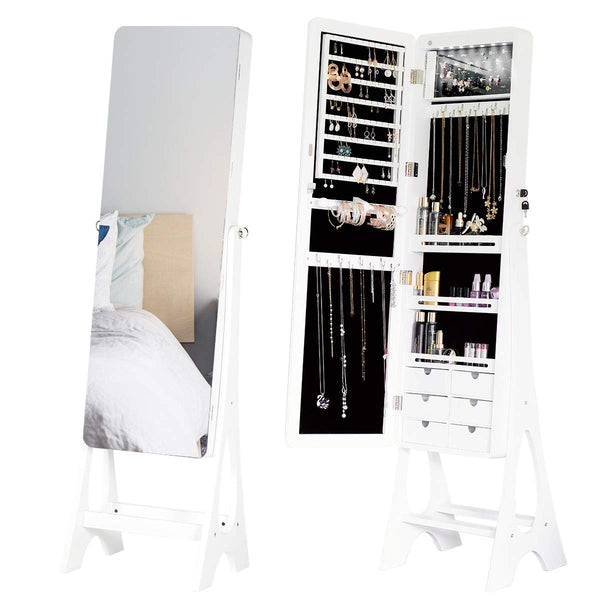Floor Standing Jewelry Armoire Jewelry Cabinet with Frameless Full Length Mirror, Large Capacity Dressing Mirror Makeup Jewelry Organizer