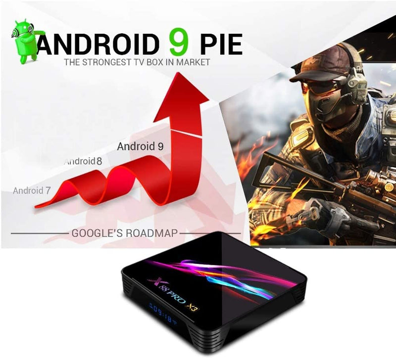 Android 9.0 X88 PRO X3 Smart TV Box 8K Resolution 4GB RAM 32GB/64GB/128GB ROM WiFi HDMI2.0 USB3.0 Support TF Card