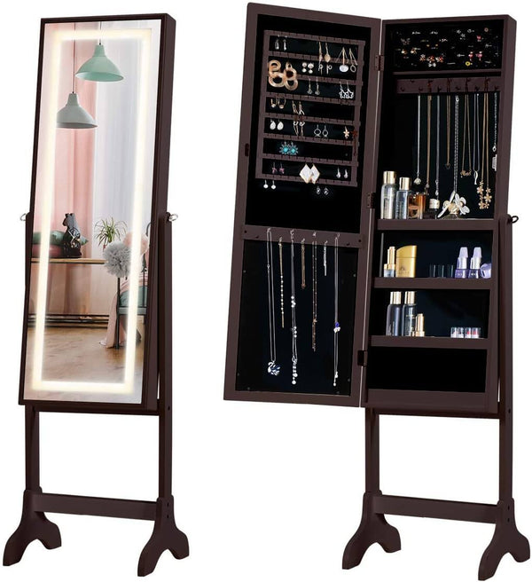 Floor Standing Jewelry Armoire, Angle Adjustable Jewelry Organizer, Dressing Mirror Jewelry Cabinet with Full Length Mirror, Brown