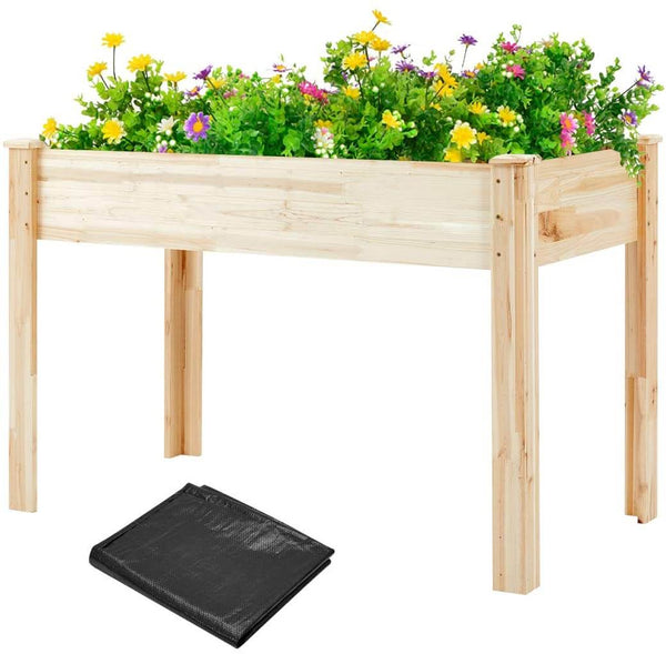 "Raised Garden Bed, Raised Planter Box with legs, Outdoor Wooden Planter Bed for Vegetable/Flower/Herb, 30""(H) x 45 1/4""(L) x 23 1/2""(W)"