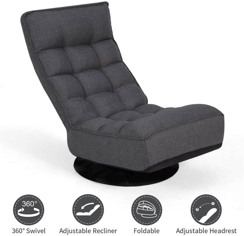 Esright 360-Degree Swivel Floor Sofa, High Back Folding Floor Gaming Chair, Floor Lounger Adjustable Sleeper Recliner for Teens&Adults, Gray