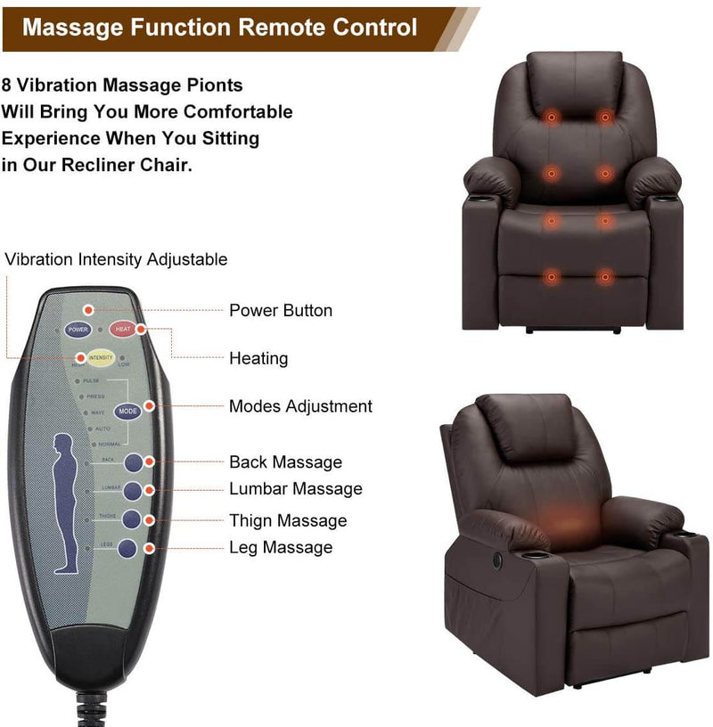Electric Power Recliner Lift Chair Faux Leather Electric Recliner for Elderly, Heated Vibration Massage Sofa with Side Pockets, USB Charge Port & Remote Control, Dark Brown