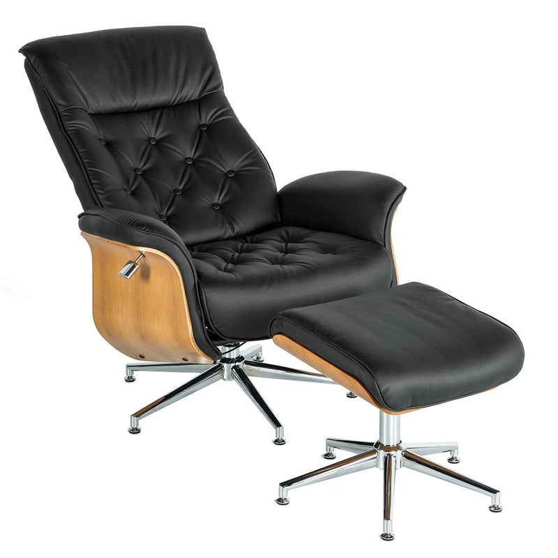 Lounge Chair Mid Century PU Leather Chaise Lounge with Ottoman Set