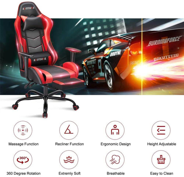 Gaming Chair Massage Ergonomic Office Chair High Back Computer Chair Racing PU Leather Recliner with Footrest, Black & Red