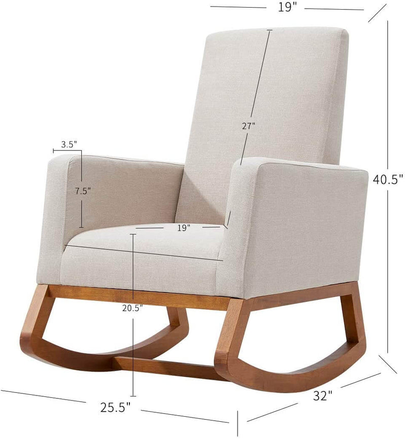 Rocking Chair, Mid Century Accent Chair, Glider Rocker with Ottoman,Seat Wood Base, High Back Linen Armchair, Beige