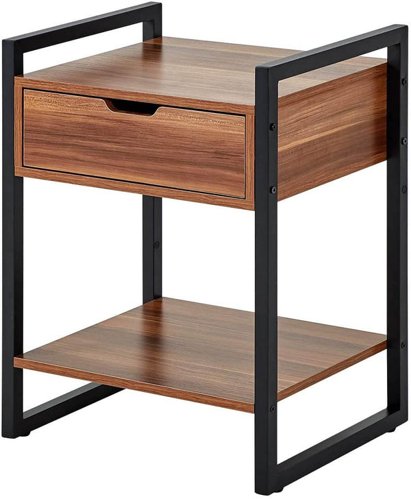 Modern Rectangular Wood Nightstand Side/End/Coffee/Accent Table, Cabinet with Drawer for Storage, Brown