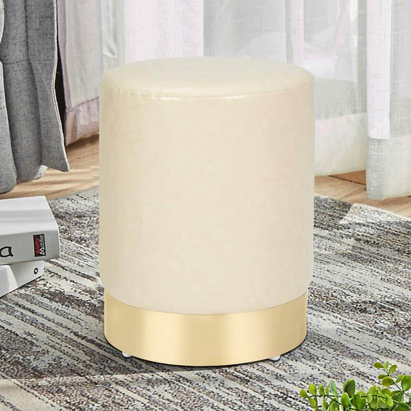 PU Leather Ottoman Round Foot Stool Footrest, Soft Compact Padded Stool, Living Room Bedroom Decorative Furniture, Cream