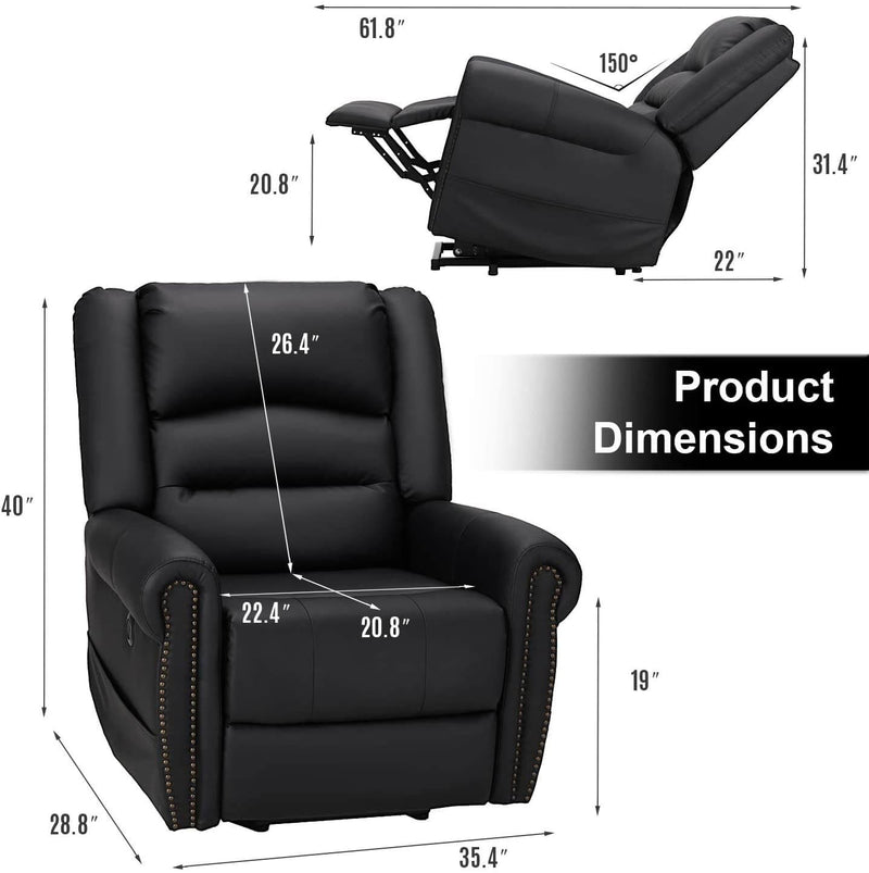 Power Lift Recliner Chair for Elderly, Faux Leather with Rivet Design Electric Recliner Chair with Heated Vibration Massage, Side Pockets & USB Port, Black