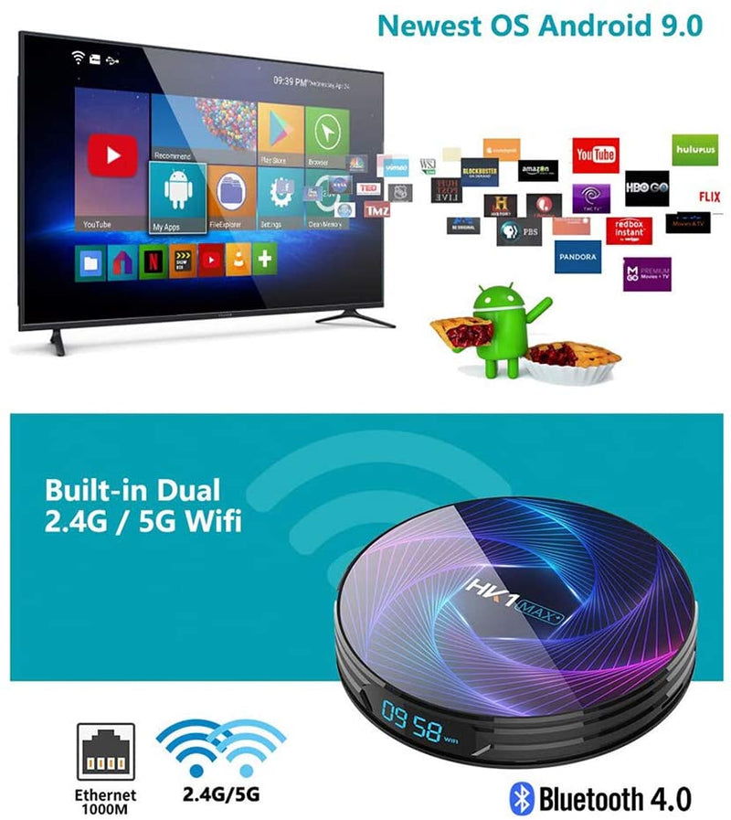 Smart TV Box,Android 9.0 TV Box Smart Player 4GB RAM 64GB ROM 3D/ 8K Ultra HD/H.265/2.4GHz WiFi/USB 3.0/ Android Media Box