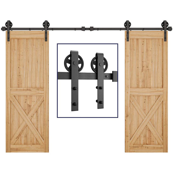 Bi-Parting Double Sliding Barn Door Hardware Basic Black Big Spoke Wheel Roller Kit