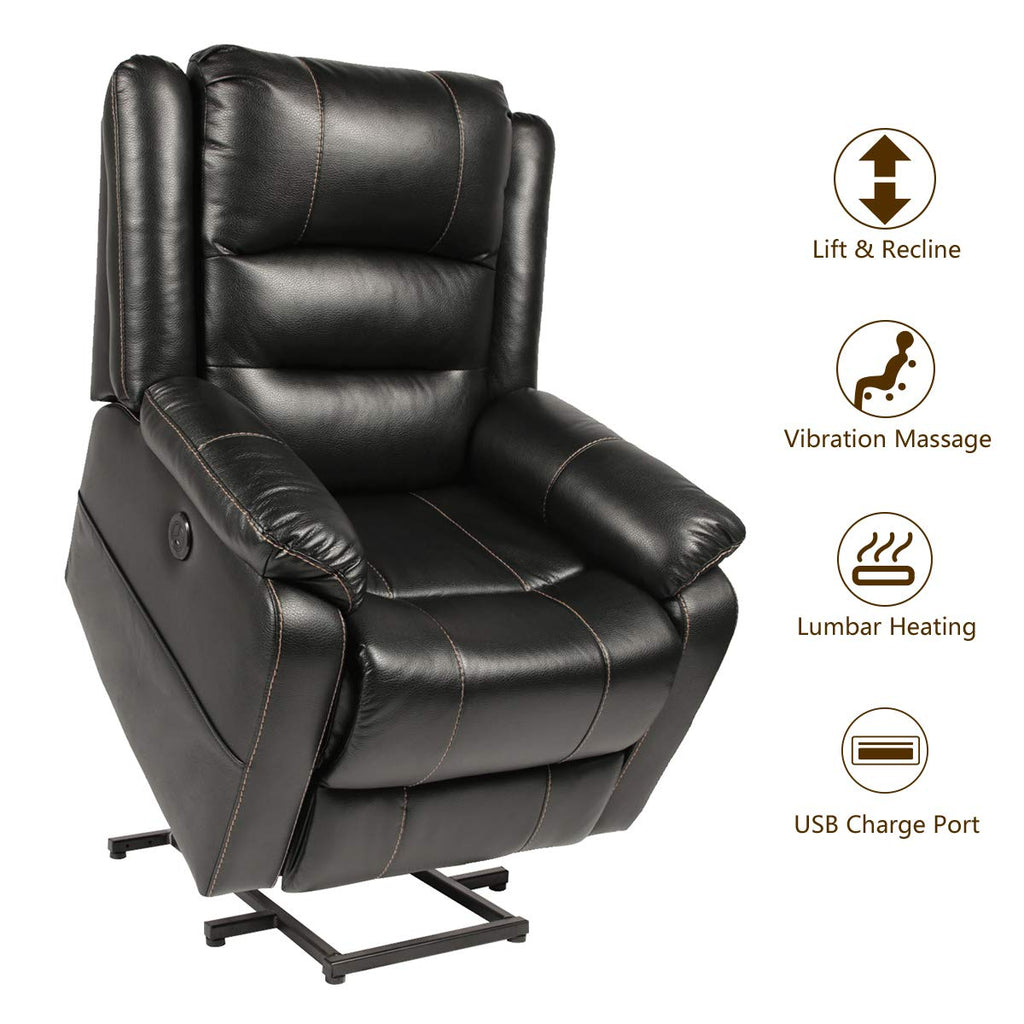 Excellent Esright Power Lift Chair Faux Leather Electric Recliner For Elderly Heated Vibration Massage Sofa With Side Pockets Usb Charge Port Remote Ibusinesslaw Wood Chair Design Ideas Ibusinesslaworg