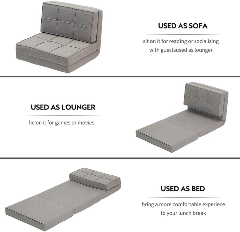 Triple Fold Down Sofa Bed, Adjustable Floor Couch Sofa 5 Adjustable Positions 6 Reclining Angles Sleeper Sofa Guest Chaise Loungefor Living Room and Bedroom Grey