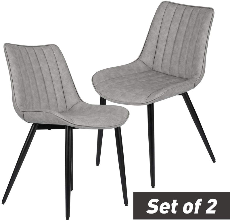 Faux Leather Dining Chairs Set of 2 Modern Leisure Upholstered Chair Gray