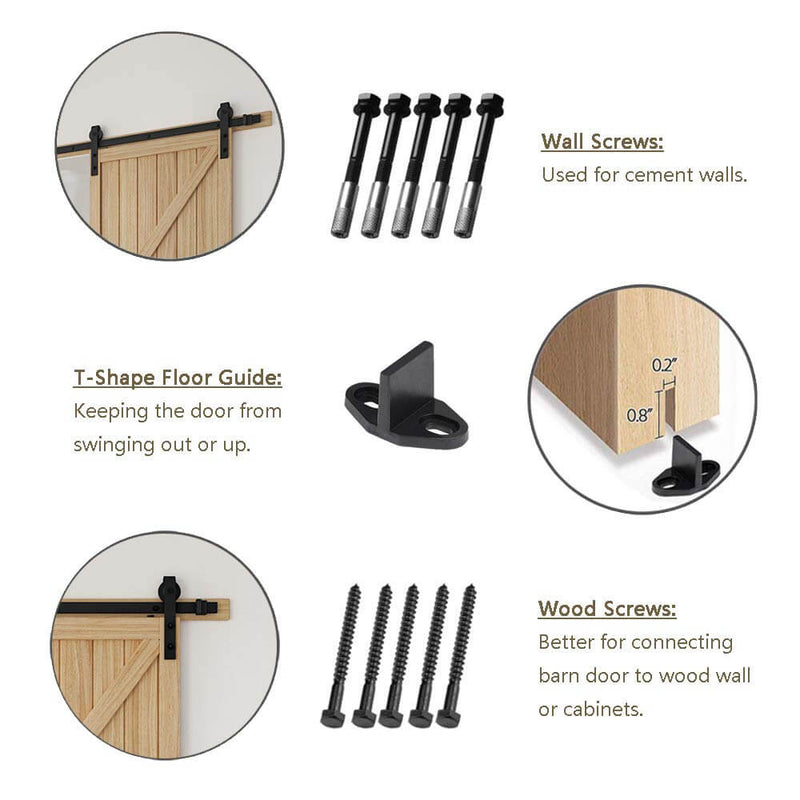 6 ft J Shape Hanger Sliding Barn Door Hardware Carbon Steel Single Barn Door Hardware Kit