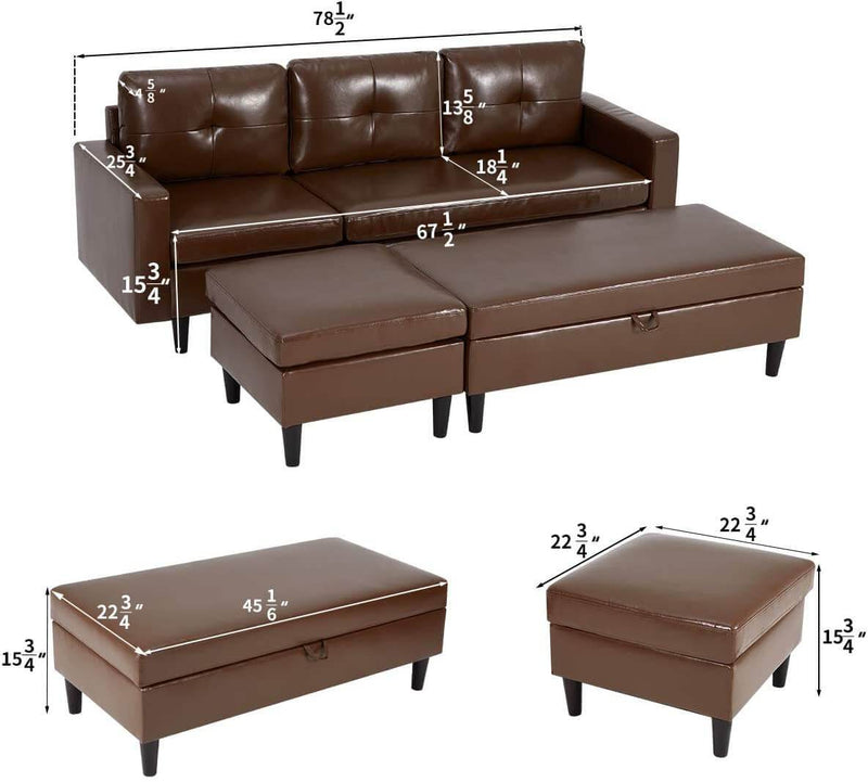 Small Faux Leather Sectional Sofa with Storage Ottoman and Chaise Lounge, 3-Seat Living Room Furniture Sets for Small Apartment, Dark Brown