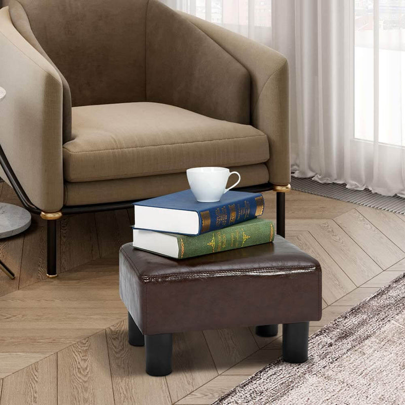 PU Leather Ottoman Small Footrest Stool Modern Seat Chair Footstool, Brown