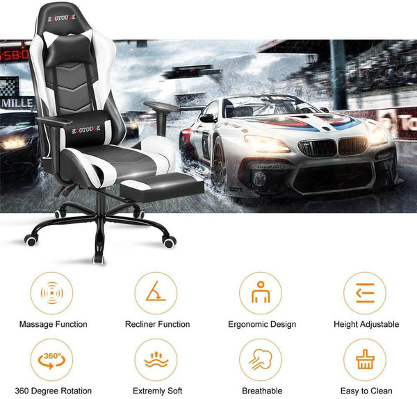 Gaming Chair Massage Ergonomic Office Chair High Back Computer Chair Racing PU Leather Recliner with Footrest, Black & White