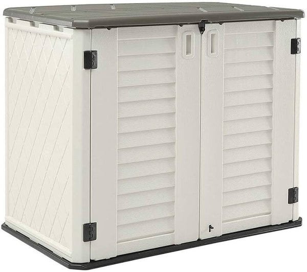 Horizontal Storage Shed Weather Resistance, Multi-Purpose Outdoor Storage Box for Backyards and Patios, 26 Cubic Feet Capacity