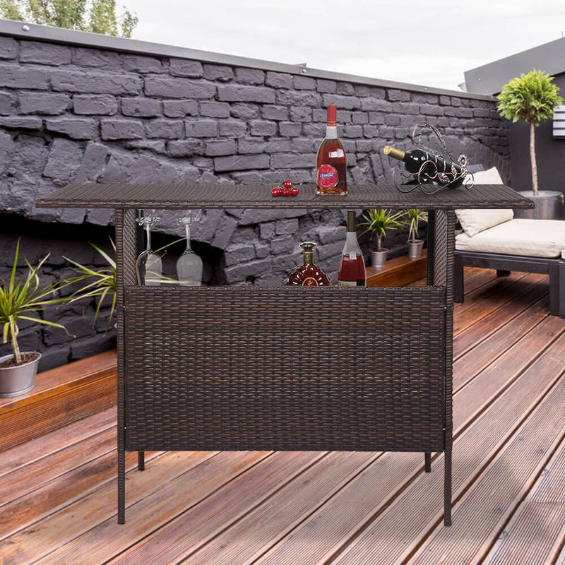 Long Rattan Bar Table Top Iron Mesh Compartment