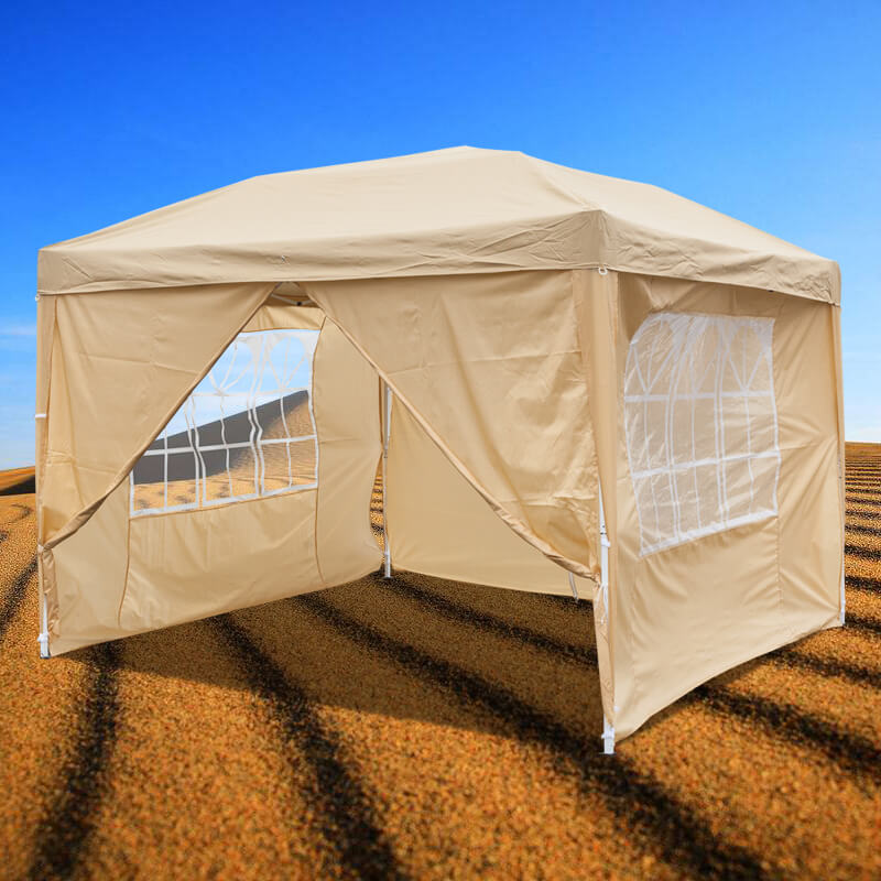 10 x 10 ft Pop up Canopy Tent with 2 Doors & 2 Windows Khaki