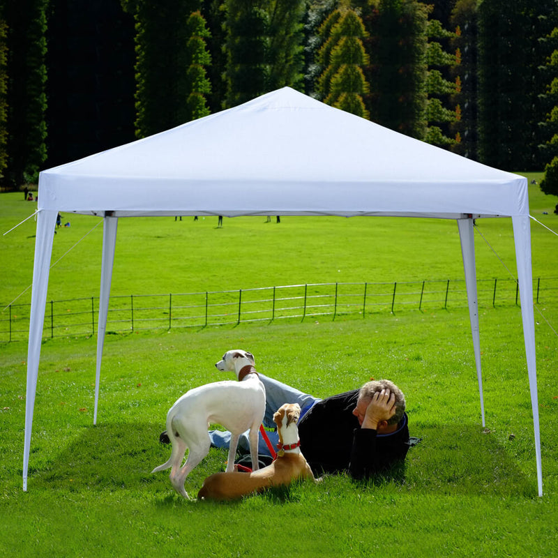 Canopy Tent 10 x 10 ft Pop Up Waterproof Foldable Commercial Tents with Carry Bag White