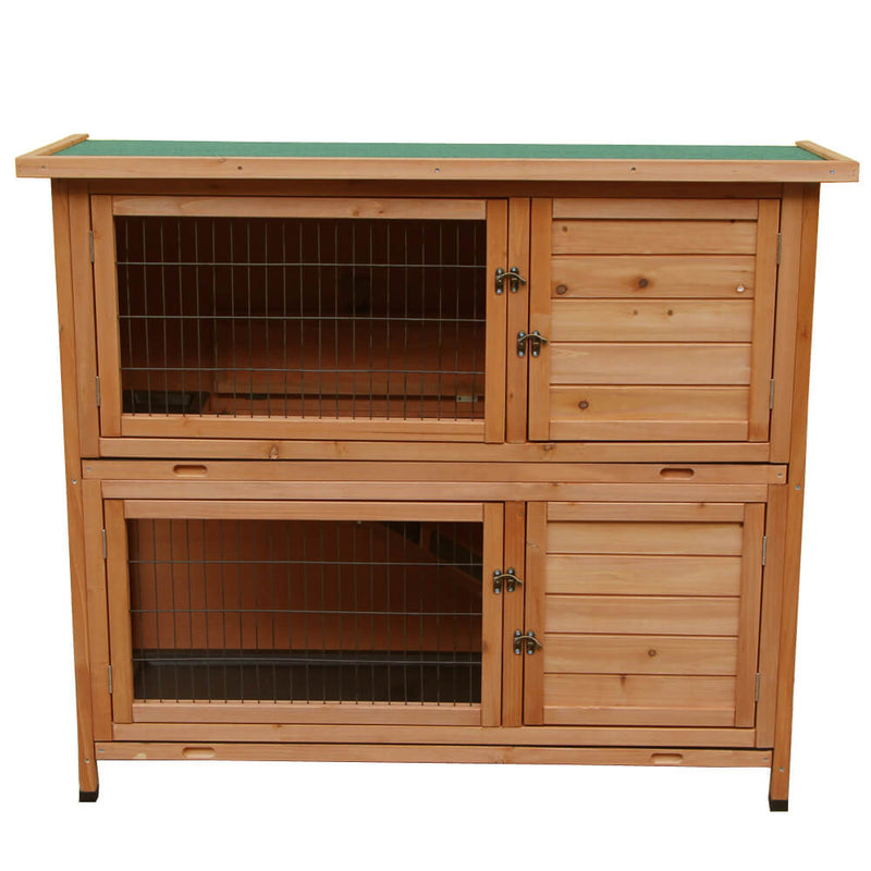 48 inches 2 Tiers Waterproof  Coop Wood House Pet Cage for Small Animals