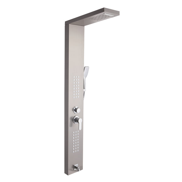 Shower System Shower Panel Stainless Steel Multi-Function 24 Holes Silver 60 inch