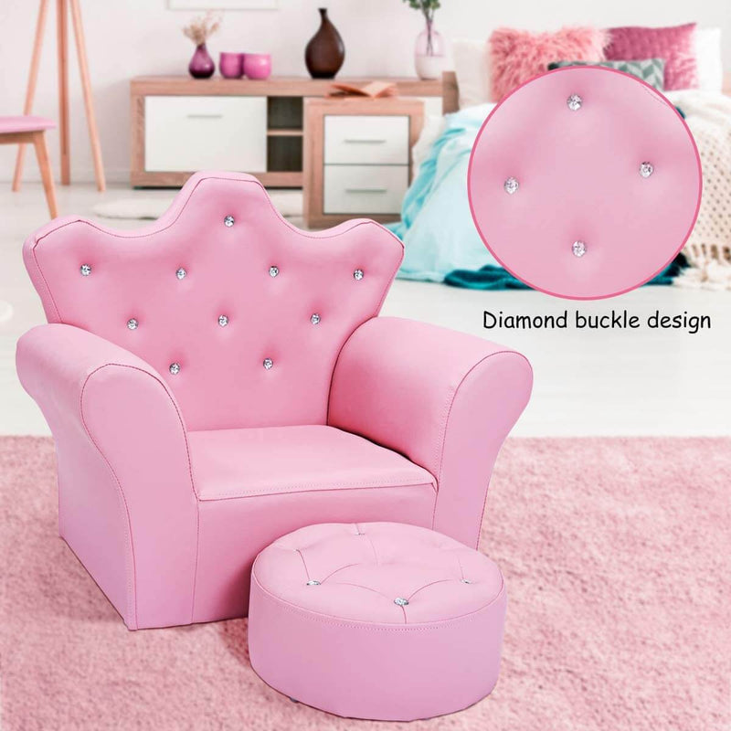 Kids Sofa With Upholstered Armchair with Ottoman Embedded Crystal Pink