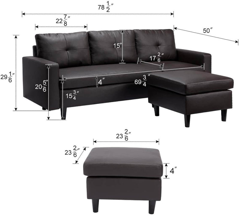 Faux Leather Sectional Sofa Convertible Couch Black Leather L-Shape Couch for Small Space Apartment