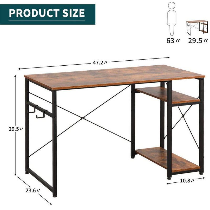Industrial Computer Writing Desk, Large Writing Desk for Home Office 47IN