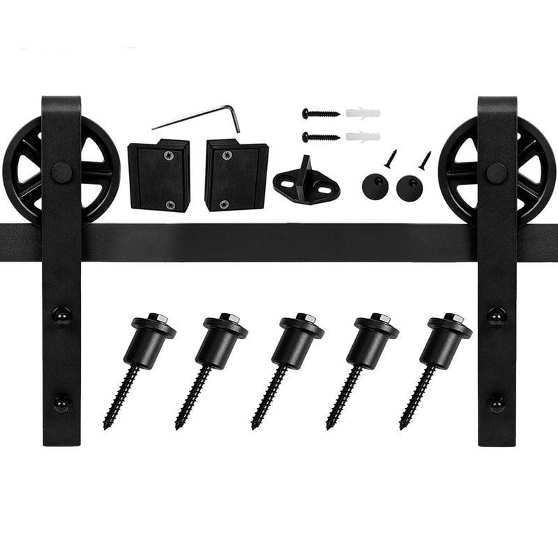 Big Wheel Sliding Barn Door Hardware Track Kit Ultra Hard Sturdy 6-12 Ft