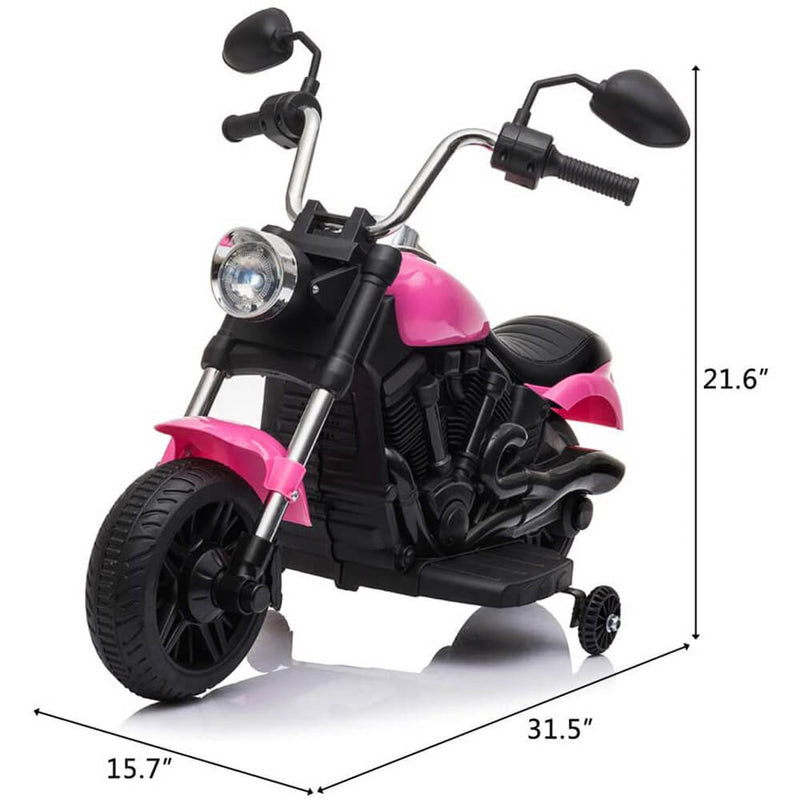 Ride on Toy for Kids Battery Powered Motorcycle With Training Wheels Pink