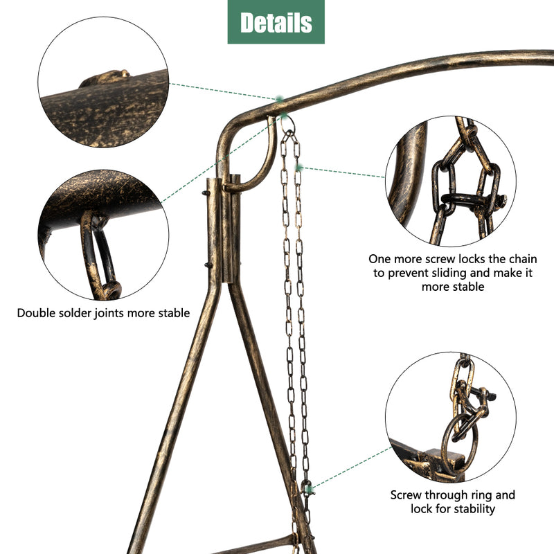 Artisasset Paint Brush Gold Worn Out Outdoor Garden Iron Art Swing Frame