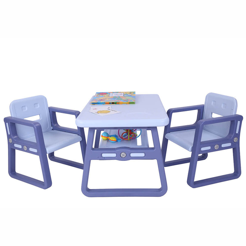 Multipurpose Kids 3-Pieces Table and Chair Set Certified Safe and Easy Clean Purple