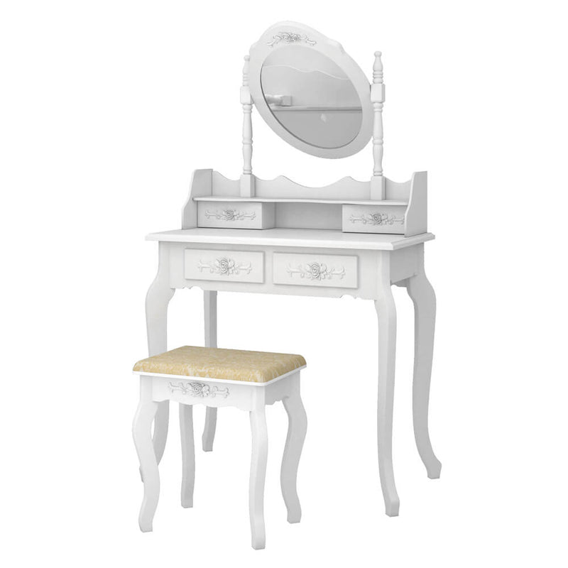 Modern Concise 4-Drawer 360-Degree Rotation Removable Mirror Dresser White