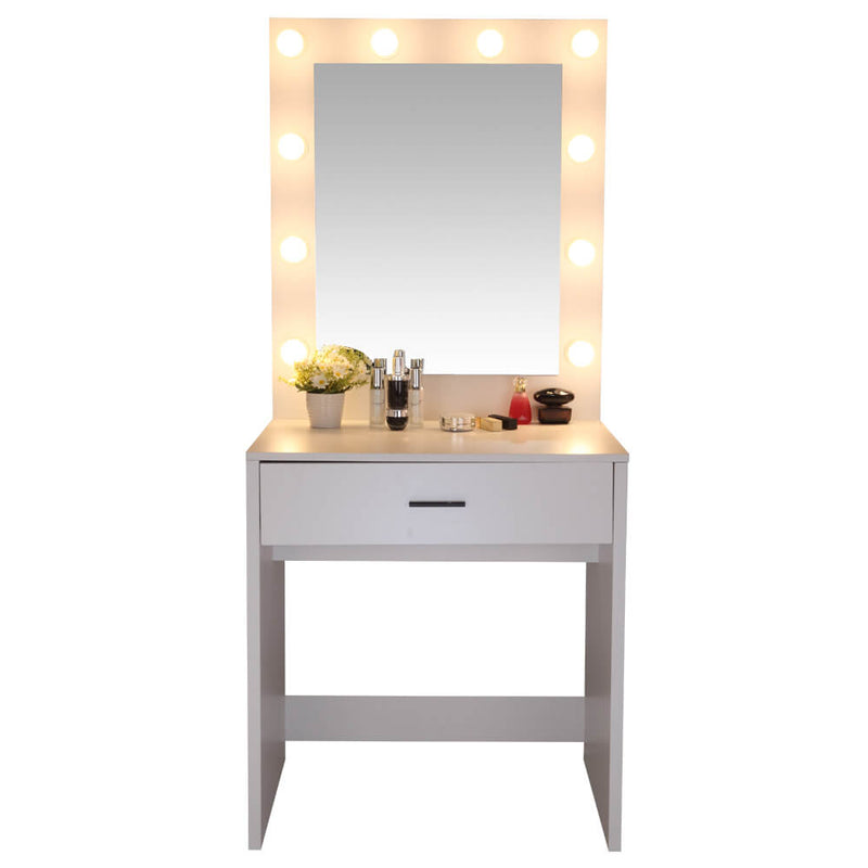 Large-Mirror Single-Drawer Dressing Table with Light Cannon