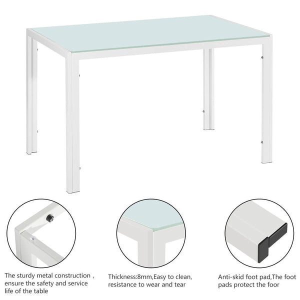 Simple Assembled Tempered Glass & Iron Dinner Table White