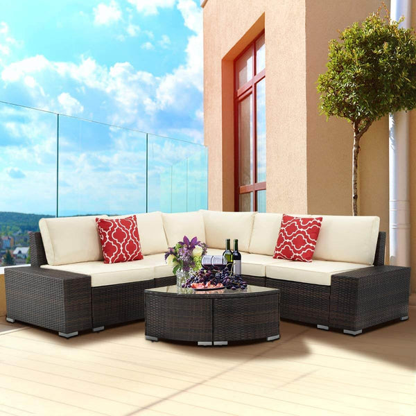 6 Pcs Outdoor Sectional Furniture Set, Patio PE Rattan All Weather Wicker Sofa Set with Cushions Arc-Shaped Table, Brown